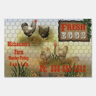 Vintage Fresh Eggs Chicken Farm Yard Sign