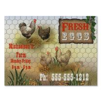 Vintage Fresh Eggs Chicken Farm Yard Sign