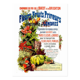 Vintage fresh fruit and flowers Paris to London Postcards