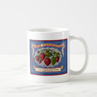 Vintage fresh strawberries ad (1868) coffee mug