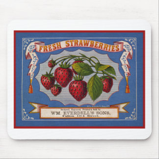 Vintage fresh strawberries ad (1868) mouse pad