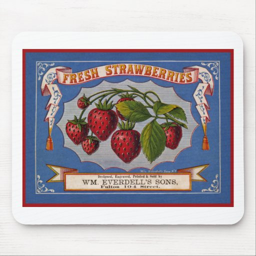 Vintage fresh strawberries ad (1868) mousepad