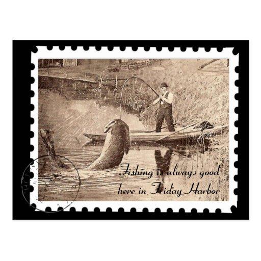 Vintage Friday Harbor Fishing Postcard