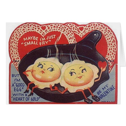Vintage Fried Eggs Valentine's Day Greeting Card