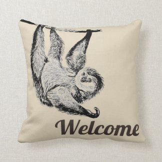 vintage friendly sloth - welcome throw pillow