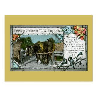 Vintage friend's birthday greetings, horses postcard