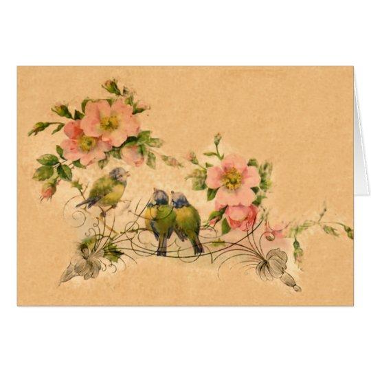 Vintage Friends- Floral & Birds-Card Card