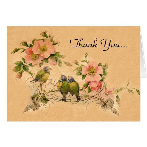 Vintage Friends Floral amp Birds Thank You Note Car