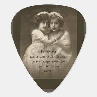 Vintage Friends Inspirational Friendship Quote Guitar Pick