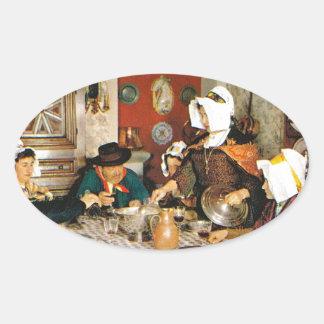 Vintage Frnace, Auvergne, comida de la familia Pegatina Ovalada