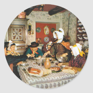 Vintage Frnace, Auvergne, family meal Classic Round Sticker