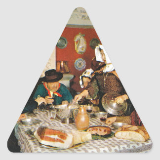 Vintage Frnace, Auvergne, family meal Triangle Sticker