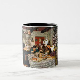 Vintage Frnace, Auvergne, family meal Two-Tone Coffee Mug