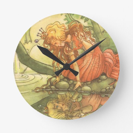 Vintage Frog Prince; Princess and Her Reflection Round Wall Clocks