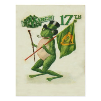 Vintage Frog Shillelagh Pipe St Patrick's Day Card