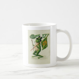 Vintage Frog Shillelagh Pipe St Patrick's Day Card Coffee Mug