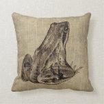 Vintage Frog Throw Pillow