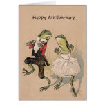 Vintage frogs in costume anniversary birthday card