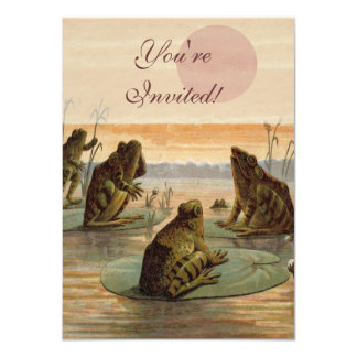 Vintage Frogs Sitting on Lily Pad 4.5x6.25 Paper Invitation Card