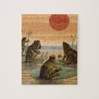 Vintage Frogs Sitting on Lily Pad Jigsaw Puzzle
