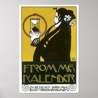 Vintage Frommes Kalender Art Deco Ad Poster