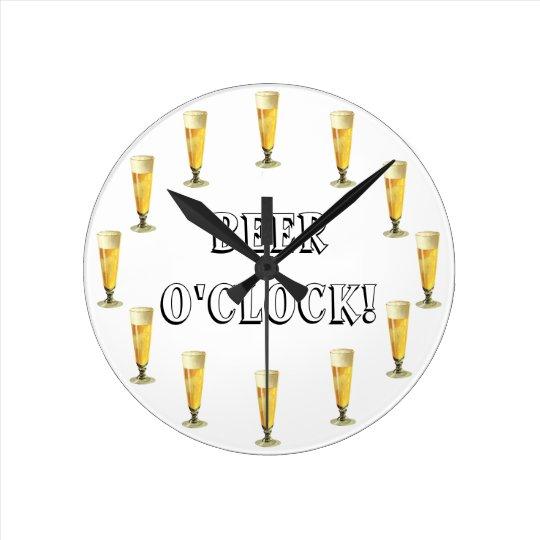 Vintage Frosty Beer O'clock! Alcohol Beverage Round Clock
