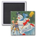 Vintage Frosty on Skates 2 Inch Square Magnet