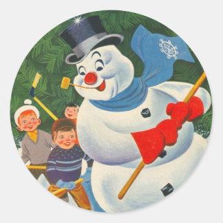 Vintage Frosty on Skates Classic Round Sticker