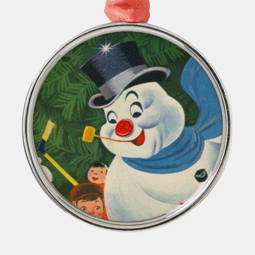 Vintage Frosty on Skates Round Metal Christmas Ornament