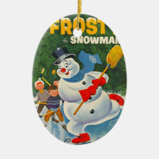 Vintage Frosty on Skates Double-Sided Oval Ceramic Christmas Ornament