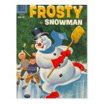 Vintage Frosty on Skates Postcard