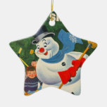 Vintage Frosty Double-Sided Star Ceramic Christmas Ornament