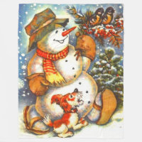 Vintage frosty the snowman A Christmas Fleece Blanket