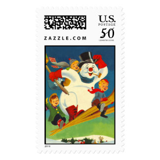 Vintage Frosty the Snowman on skis Postage