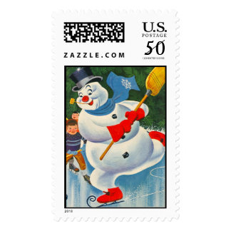 Vintage Frosty the Snowman playing snow hockey Postage