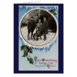 Vintage Frosty Winter Christmas Card