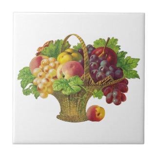 Vintage Fruit Basket Ceramic Tile
