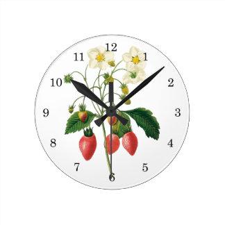 Vintage Fruit Berries Food Strawberries by Redoute Round Clock