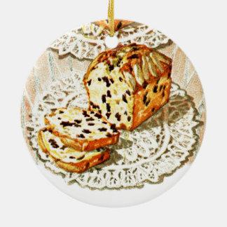 Vintage fruit cake illustration ceramic ornament