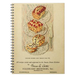Vintage fruit cake illustration notebook
