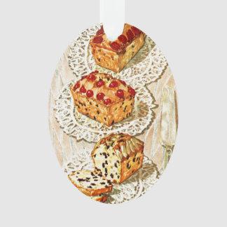 Vintage fruit cake illustration ornament