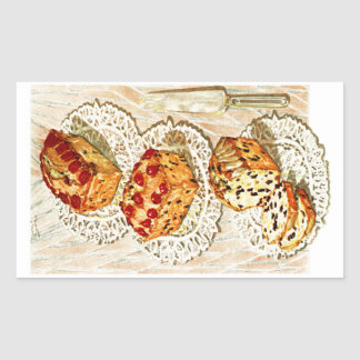 Vintage fruit cake illustration rectangular sticker