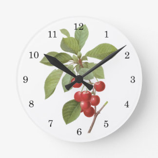 Vintage Fruit Cherry Food, Cherries by Redoute Round Clock