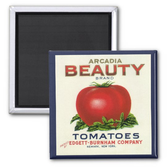 Vintage Fruit Crate Label, Arcadia Beauty Tomatoes 2 Inch Square Magnet