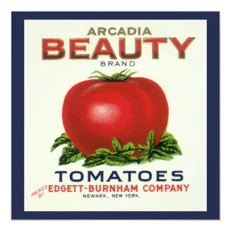 """Vintage Fruit Crate Label, Arcadia Beauty Tomatoes 5.25"""" Square Invitation Card"""