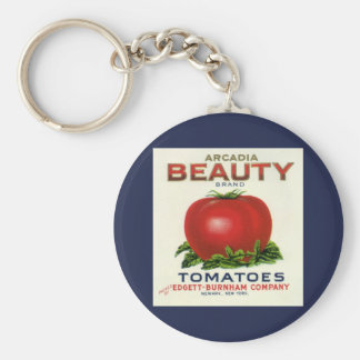 Vintage Fruit Crate Label, Arcadia Beauty Tomatoes Keychain