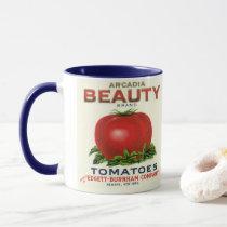 Vintage Fruit Crate Label, Arcadia Beauty Tomatoes Mug