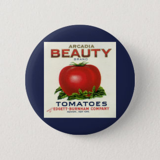 Vintage Fruit Crate Label, Arcadia Beauty Tomatoes Pinback Button