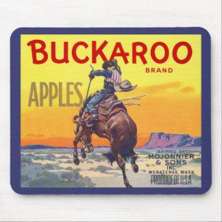 Vintage Fruit Crate Label Art, Buckaroo Apples Mouse Pad
