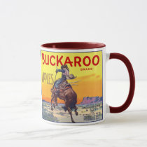Vintage Fruit Crate Label Art, Buckaroo Apples Mug